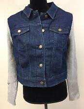 Liz Claiborne Sz. 12 Denim Indigo Jean Jacket/Knit Sleeves A272821848020 NIP