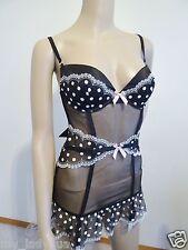 NWT Victoria's Secret Very Sexy 34C Garter Slip Lingerie Lace Black Polca Dot