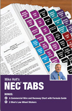 Mike Holt's Nec Tabs (Color Coded) with Ohm's Law Stickers and Wire Chart - 2020