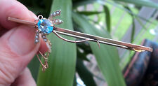 Super Vintage 18ct Rose Gold Dragonfly Insect Bar Brooch - Aquamarine & Pearl
