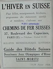 PUBLICITE SAINT MORITZ SUISSE CHEMINS DE FER JEUX OLYMPIQUES DE 1927 FRENCH AD