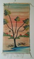Burma Big Tree Two Oriental Boat Painted Scrolls Bamboo Wall Hanging Decor