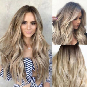 """28"""" Ladie Blonde Ombre Long Curly Wigs Women Natural Body Wavy Hair CosplSA"""