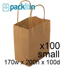 x100 KRAFT BROWN paper gift CARRY party BAGS with handles - SMALL (170 x 200mm)