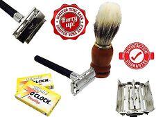 DOUBLE EDGE SAFETY RAZOR SHAVING SET +Badger Hair Shaving Brush FOR MEN GIFT SET