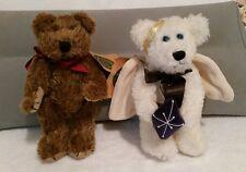 "Set of 2 Vintage Boyds Bears Galaxy white angel & Morris brown bear 8"" Nwt plush"