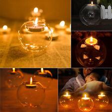 Set of 6 Glass Tea Candle Holders Round Tea Light Holder Wedding Tealight 8/10cm