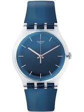 Swatch ENCRIER Women's Blue Plastic Case Rubber Strap Watch SUOK126