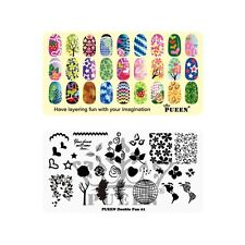 PUEEN Nail Art Stamping Plate -Double Fun 01 - Layering Collection 125x65mm Kit