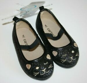 New Carter's Cat Kitty Flats Dress Glitter Shoes Halloween Black Toddler 4, 5, 6