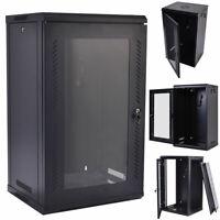 15U Wall Mount Network Server Data Cabinet Enclosure Rack Glass Door Lock w/Fan