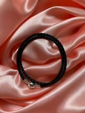 Genuine Sterling Silver PANDORA Black Double Wrap LEATHER BRACELET 38CM + pouch