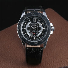 Elegant Military Mens Automatic Mechanical Wrist Watch Gear Design Leather Strap