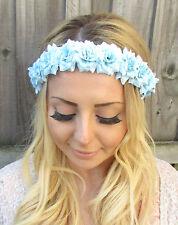 Bleu Clair Fleur Rose Bandeau Guirlande De Fleurs Cheveux Couronne
