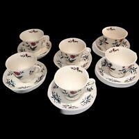 Wedgwood Williamsburg Potpourri Set of 6 Tea Cups & Saucers Lot of 12 Pieces