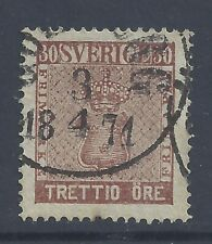 SWEDEN 1858  30ö RED-BROWN  USED  SG 10