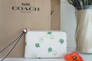 NWT Coach 6978 Corner Zip Wristlet in Coated Canvas with Apple Print Chalk Multi