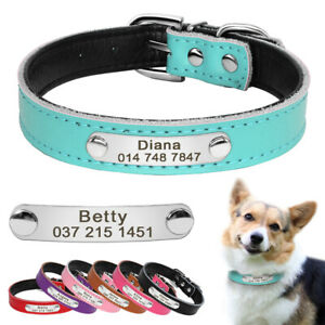 Dog Collar Personalised Custom Free Name Phone Engraved Leather Name ID Collar