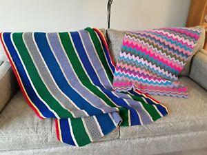 2 NEW wool hand knitted granny blankets bright campervan stripe chevron