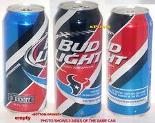 PINT 2015 NFL KICKOFF HOUSTON TEXANS BUD LIGHT BEER CAN TEXAS PRO FOOTBALL SPORT
