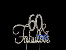 60 & Fabulous GOLD Cake Topper Birthday Party Decor Rhinestone Crystal