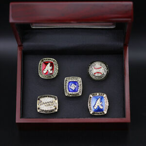 5pcs MLB Atlantas Braves World Series Rings Display Set with Wooden Display Box