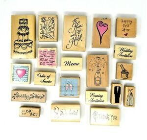 20 WEDDING THEMED STAMPS Wood Mounted Rubber Bundle inc Anitas Funstamps etc