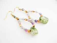 Green Crackle Crystal and Pink Flourite Gold Plated Drop Earrings, Beaded, Gift