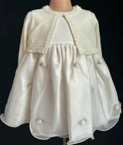 Ivory Flower Girl Formal Guest Christening Easter Eid Party Dress 0-24m Cardigan