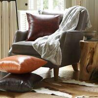 Throw Pillow Case Cushion Cover PU Leather Sofa Bed Home Decor Retro Soft Square