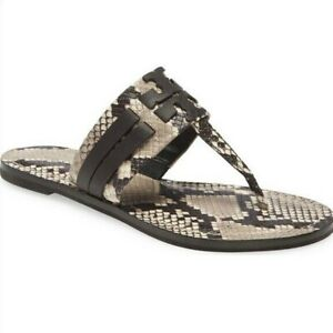 NIB Tory Burch Leigh Flip Flop Double T Logo Snake Print Leather Sandals $228