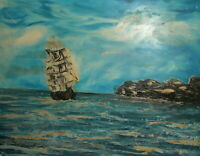 Impressionist oil painting seascape ship signed