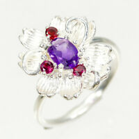 Fine Art Jewellery Natural Amethyst 925 Sterling Silver Ring Size 7.75/R90076