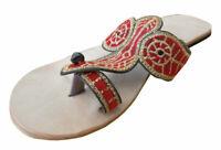 Women Slippers Indian Handmade Traditional Cream Flat Slip-On UK 2.5 EU 35