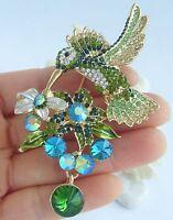 """Art Deco 3.54"""" Green Austrian Crystal Animal Hummingbird Brooch Pin 01775C4"""