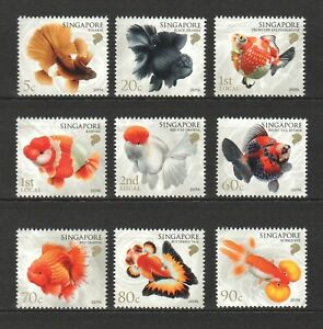 SINGAPORE 2019 GOLDFISHES COMP. SET OF 9 STAMPS IN MINT MNH UNUSED CONDITION