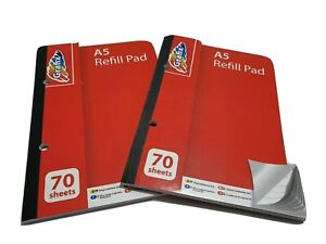 A5 Refill Pad LINED with Margin, 70 Pages, 2 PADS Feint Ruled, 2 Holes Punched