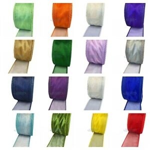 "Wired Edge Organza Christmas Tree Ribbon - Full 20 Metre Rolls - 2"" Wide"