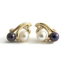 Black White Pearl Diamond Stud Earrings 14K Yellow Gold, 3.71 Grams