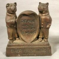 VINTAGE BAER BROTHERS PAINT 2 BEARS BRASS ADVERTISING COUNTER / SHELF DISPLAY