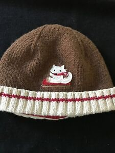 Janie and Jack Sledding Cat Knitted Cap - 0-3 Months