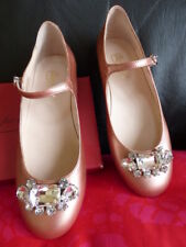 Bonpoint diamonte shoes 35 2 rose gold crystal patent leather NEW girls French