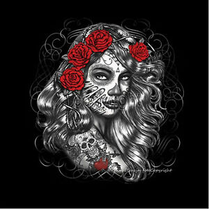 * Rockabilly Tattoo mexican style dia de los Muertos PinUp T-Shirt *1021