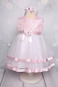 ANABELL - Taufkleid mit Stirnband Spitze Taufe Festkleid Babykleid weiss/rosa