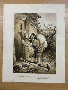 "c1880s PILGRIMS PROGRESS ""CHRISTIAN AT THE WICKER GATE"" LARGE RELIGIOUS PRINT"