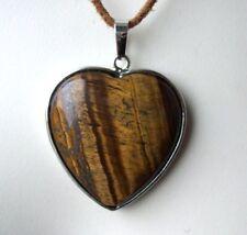 Edelsteinanhänger, Tigerauge Herz, eingefasst 3,5 cm Ketten , Schmuck, Heilstein