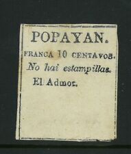 COLOMBIA, Rare local provisional stamp Popayan 1878