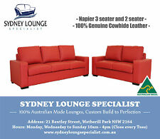 AUSTRALIAN MADE Napier 3 + 2 Genuine Italian Leather Suite Lounge Sofa Couch Bed