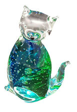 Art Glass Cat Figurine Clear/Blue-Green Tail Right  App13cm H