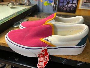 Vans Classic Slip On Platform Mini Cord Multi Pink Size US 6 Men (7.5 Women) New
